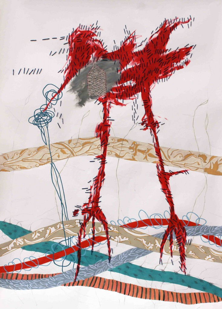 Pájaro rojo, obra de Ana Karina Lema. Imagen cortesía de Espacio40