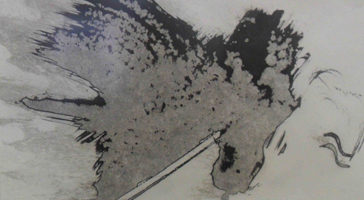 Obra de Brigitte Pietrzak perteneciente a la exposición 'Emergencia del signo' en el Institut Français de Valencia.