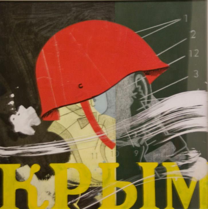 Obra de Ximo Amigó para la exposición express sobre Crimea. Imagen cortesía de Café Malvarrosa