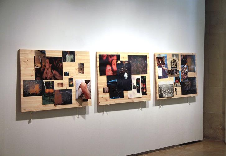 """Alberto Feijóo """"Something we used to know"""" (tabla de madera 100 x 80 cm combinada con fotografías enmarcadas de medidas variables). Imagen cortesía del artista."""