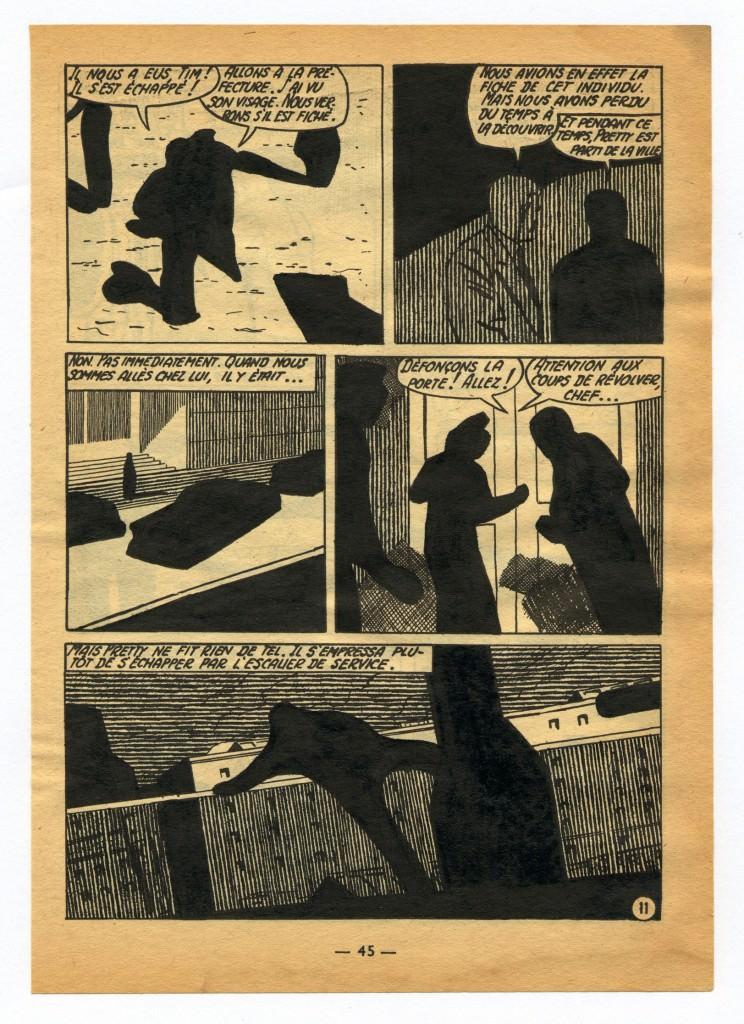 Jochen Gerner. Ángel Audaz series n°2, (2009. Tinta china sobre papel impreso, 18 x 12,5 cm). Imagen cortesía del proyecto a3bandas.