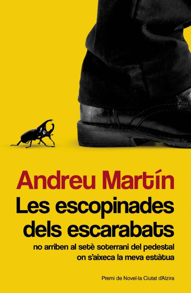 Portada del libro 'Les escopinades dels escarabats', de Andreu Martín. Editorial Bromera.