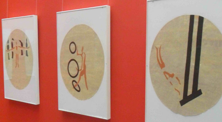Obras de Santiago Arranz en el Salón Rouge del Institut Français de Valencia.