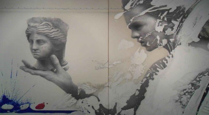 Al.legoria de l'arqueologia, de Manuel Boix, en la exposición 'El viatge del temps' de la Nau de la Universitat de València.