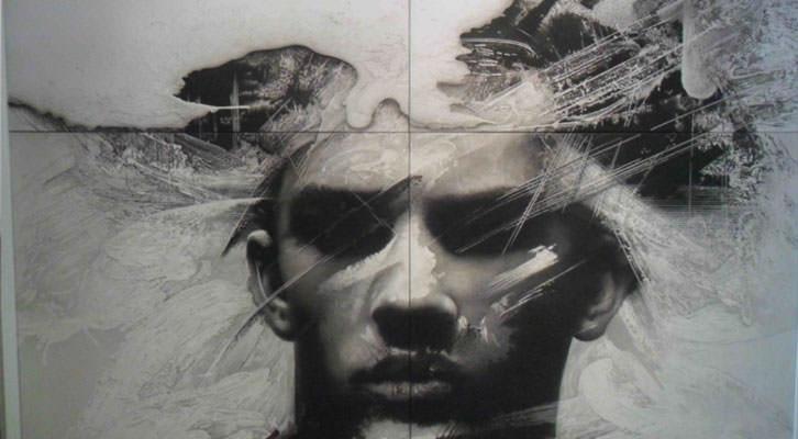 Obra de Manuel Boix en la exposición 'El viatge del temps' en La Nau de la Universitat de València.