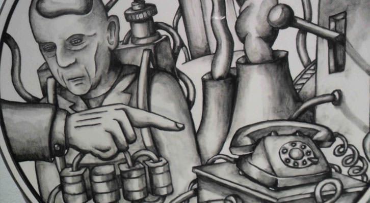 Detalle de una de las obras de Xavier Monsalvatge en la exposición '11 años en peligro permanente'. Museo Nacional de Cerámica González Martí.