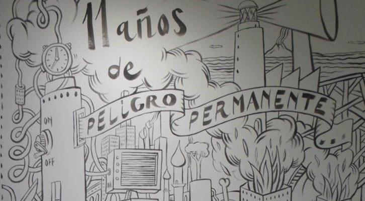 Detalle del cartel de la exposición de Xavier Monsalvatge en el Museo Nacional de Cerámica y Artes Suntuarias González Martí de Valencia.