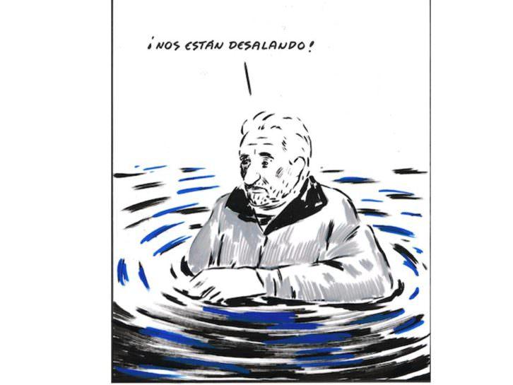 El Roto. ¡Nos están desalando! Tinta y rotulador sobre cartulina. 34 x 32 cm. Imagen cortesía del artista y Galería Alba Cabrera.