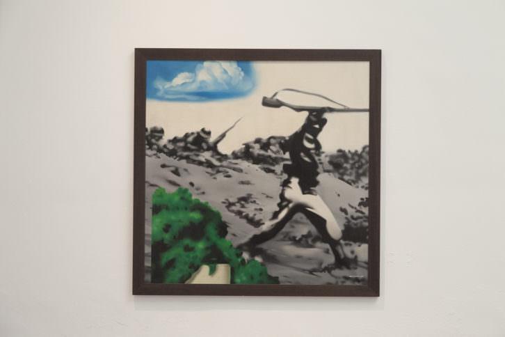 Equipo Realidad. Brigadas internacionales, 1973. Oleo sobre lienzo. 150 x 150 cm. Foto: Nacho. Imagen cortesía de Galería Punto.
