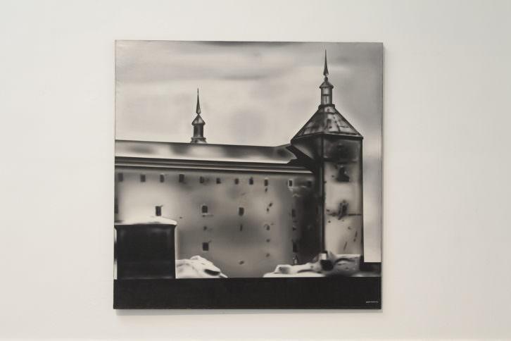 Equipo Realidad. Vista del Alcazar de Toledo, 1974. Oleo sobre lienzo. 200 x 200 cm. Foto: Nacho. Imagen cortesía de Galería Punto.