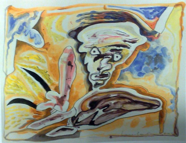 Lucebert. S/T, 1976. Gouache, tinta y lápiz sobre papel. 65 x 50 cm. Imagen cortesía de Galería Rosalía Sender.