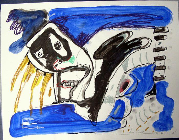 Lucebert. S/T, 1988. Gouache sobre papel. 42 x 59,5 cm. Imagen cortesía de Galería Rosalía Sender.
