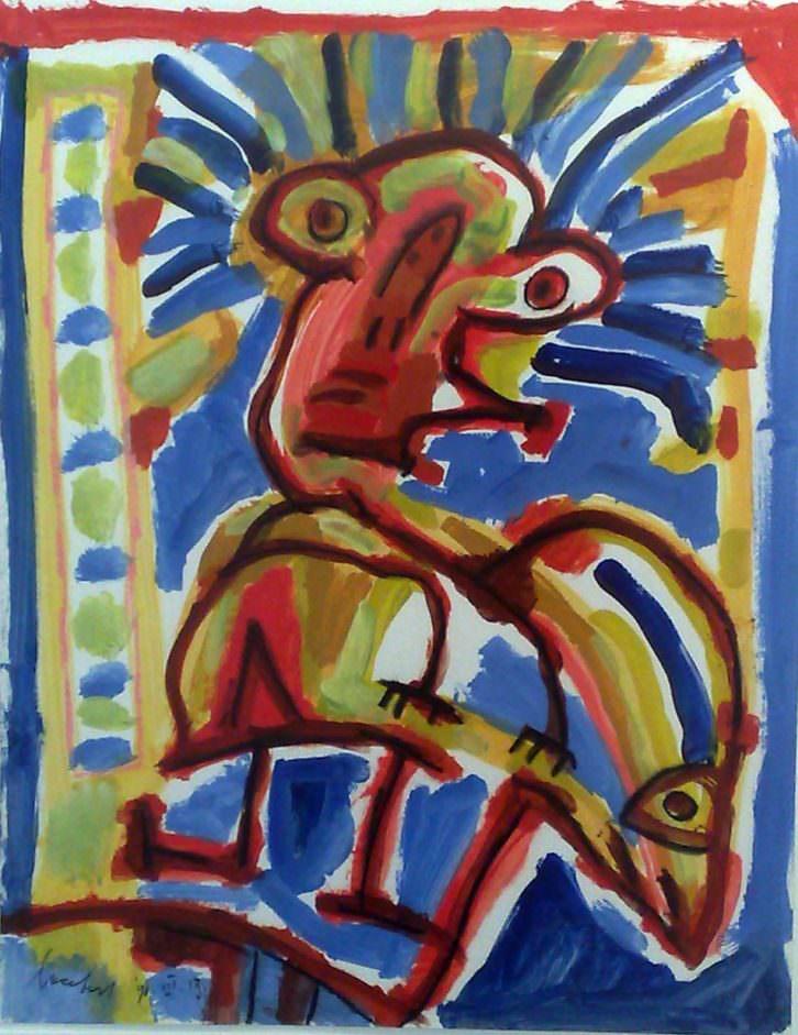 Lucebert. S/T, 1988. Gouache sobre papel. 50 x 70 cm. Imagen cortesía de Galería Rosalía Sender.