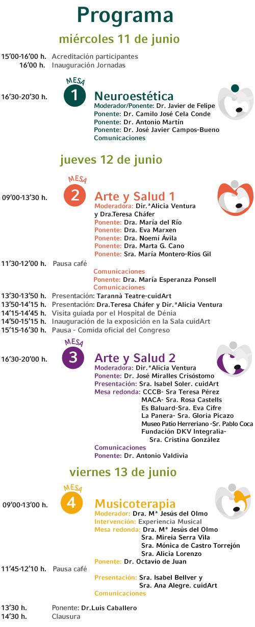 Programa del II Congreso Internacional de Espacios de Arte y Salud.
