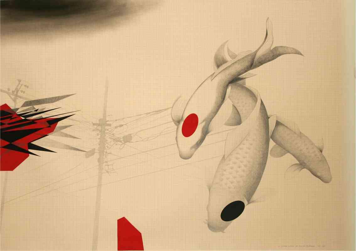 Roberto Mollá. La rivière charrie les fils du téléphone, 2011-2012. Lápiz, rotulador, gouache y tinta sobre papel milimetrado. 75 x 106 cm. Imagen cortesía del artista y Trentatres Gallery.