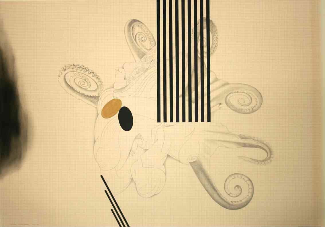 Roberto Mollá. Tamatori interlineado, 2011-2012. Lápiz, rotulador, gouache y tinta sobre papel milimetrado. 75 x 106 cm. Imagen cortesía del artista y Trentatres Gallery.