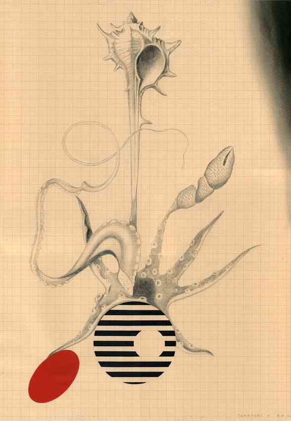 Roberto Mollá. Tamatori V, 2011-2012. Lápiz, rotulador, gouache y tinta sobre papel milimetrado. 50 x 35 cm. Imagen cortesía del artista y Trentatres Gallery.