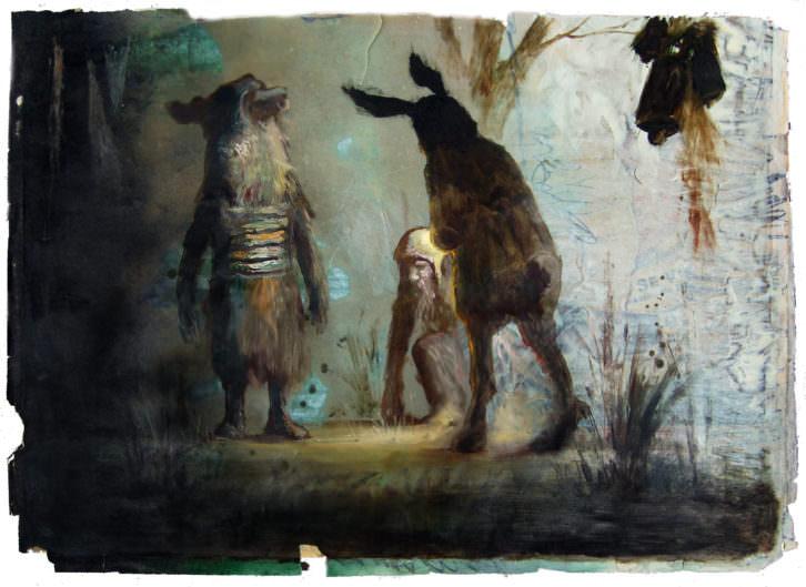 Jose Luis Serzo, Los Señores del Bosque. Sospechosa Reunión, 50x70 cm, Oil and Resin on Paper, 2013. Imagen cortesía del artista y Kir Royal Gallery.