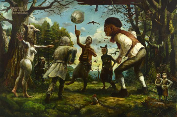 José Luis Serzo. Los Señores del Bosque. Blinky Rotred y el Juego de Ajos, 200x300 cm, Oil on Canvas, 2014. Imagen cortesía del artista y Kir Royal Gallery.