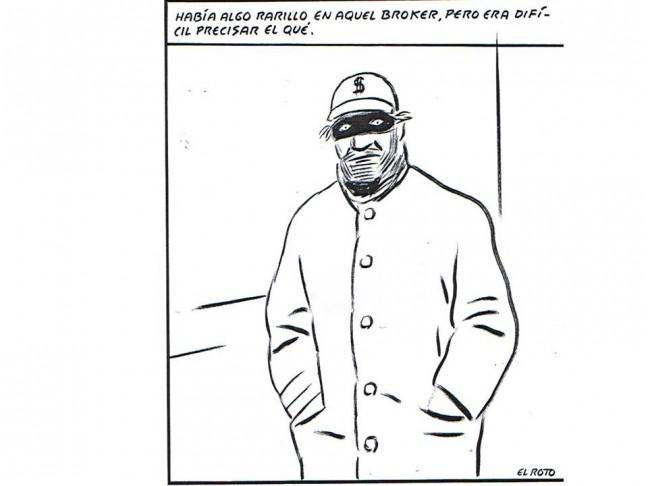 El Roto. Broker. Tinta y rotulador sobre cartulina. 34 x 32 cm. Imagen cortesía del artista y Galería Alba Cabrera.