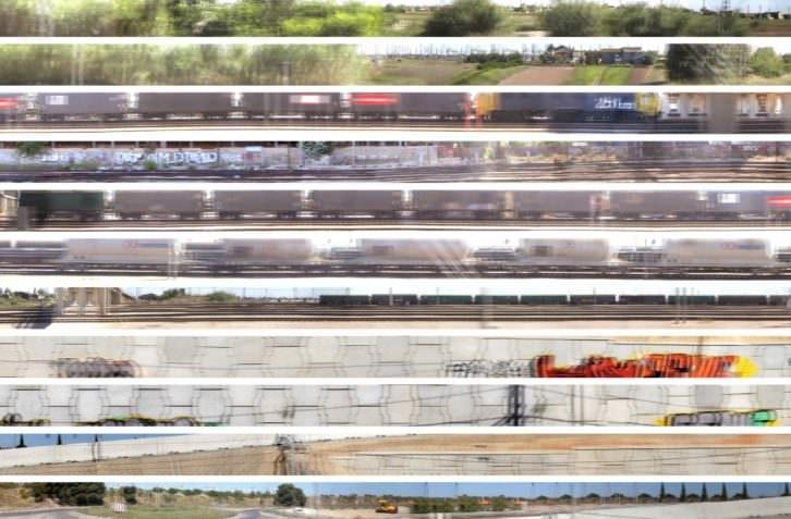 Pilar Beltrán. Cercanías, 2011-2012. Imagen electrónica sobre lienzo (3,50 x 14.000 cm), bobinas niqueladas (60 cm diametro), unidades de frenado, soportes de madera. Instalación de dimensiones variables. (detalle). Imagen cortesía de la artista y Galería Cànem.