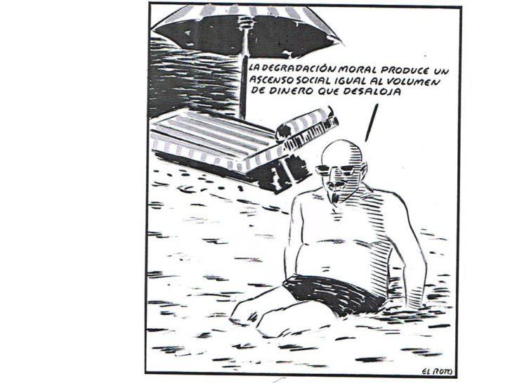 El Roto. Degradación moral. Tinta y rotulador sobre cartulina. 34 x 32 cm. Imagen cortesía del artista y Galería Alba Cabrera.