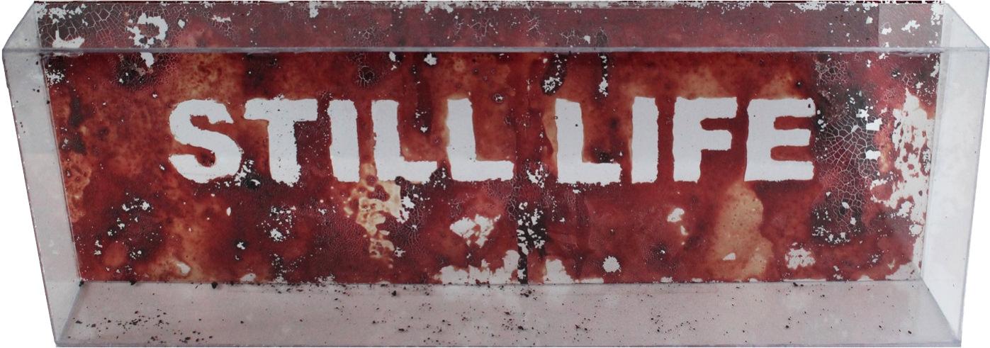 Ana Pastor. Still life, 2014. Sangre y urna de metacrilato. 50 x 150 x 15 cm. Imagen cortesía de Colectivo Cristal.