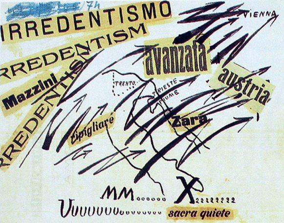 Les mots en liberte futuristes de Marinetti.  Imágen cortesía de José Emilio Antón