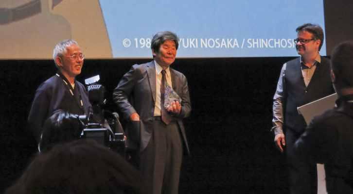 De izquierda a derecha, Toshio Suzuki, como representante del estudio Ghibli, Isao Takahata y Marcel Jean, en la entrega del Cristal d'Honneur en el Festival Internacional de Cine de Animación de Annecy 2014.