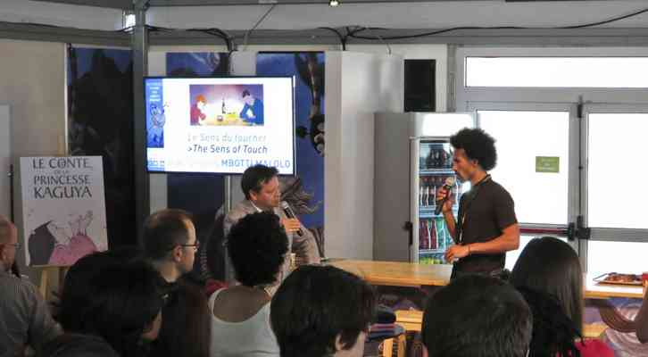Marcel Jean y Jean-Charles Mbotti en los P'tits Dej du court. Festival Internacional de Cine de Animación de Annecy 2014.