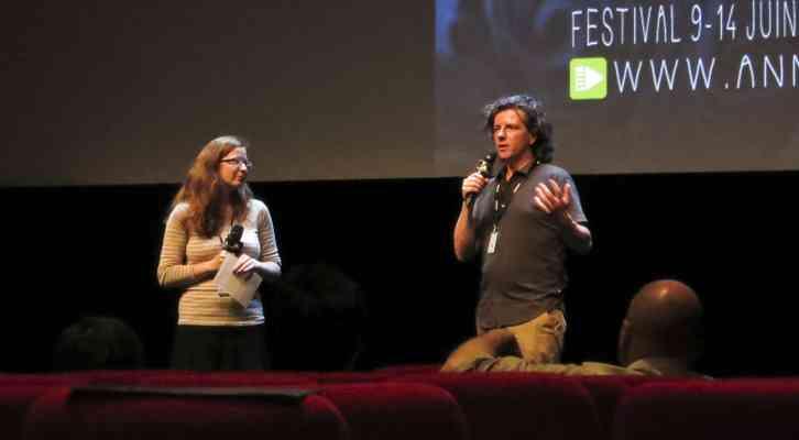 Bruno Felix presentando la película Last Hijack antes de su proyección. Festival Internacional de Cine de Animación de Annecy 2014.