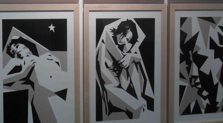 Obras de Manolo Sánchez en 'De luces a sombras'. Aula de Cultura La Llotgeta.