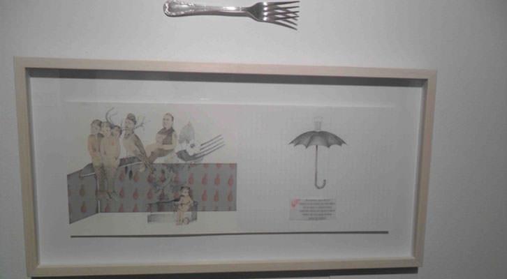 Obra de Carmela Mayor y Ana-Luisa Ramírez en la exposición 'El arca de No-es'. Col.legi Major Rector Peset.