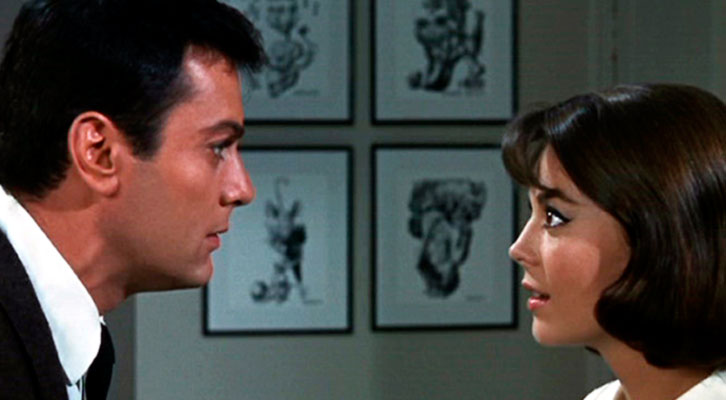 Toni Curtis y Natalie Wood en un fotograma de 'La pícara soltera', de Richard Quine. Terraza del verano del MuVIM.
