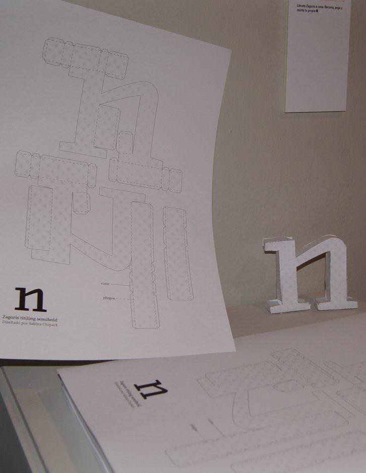 Recortable de la letra N, tipografía Zagoris. Imagen cortesía del MuVIM de la Diputación de Valencia.