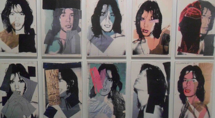 Mick Jagger en la serie de reproducciones de Andy Warhol, en la exposición 'Sympathy for the Stones'. Centro Cultural Bancaja.