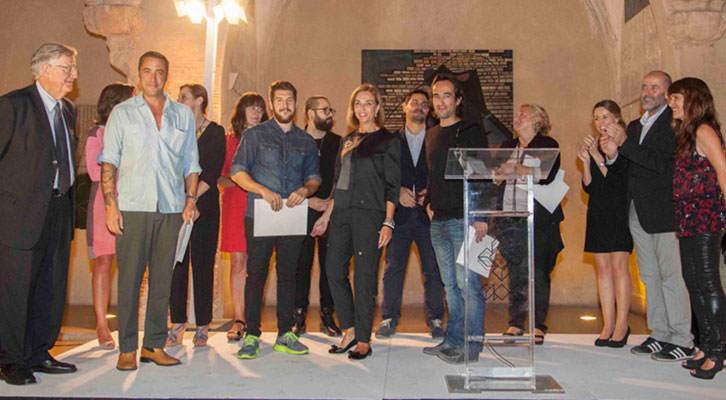 Hortensia Herrero, de la Fundación que lleva su nombre, junto a sus galardonados Sean Mackaoui, de Set Espai d'Art, Nuno Nunes-Ferreira, de PazyComedias, y Guillermo Ros, de Galería 9. Foto: Nacho López Ortíz.