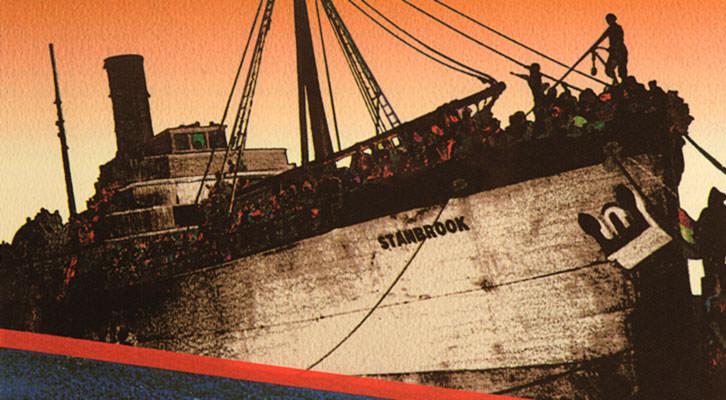 Imagen del carguero británico Stanbrook en la exposición 'Stanbrook, 1939. El exilio republicano hacia el norte de África'. Imagen cortesía de La Nau de la Universitat de València.