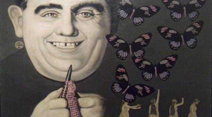 Detalle de una de las obras restauradas de Anzo, de su primera etapa Pop Art, en la exposición 'Anzo experimental' de La Nau de la Universitat de València.