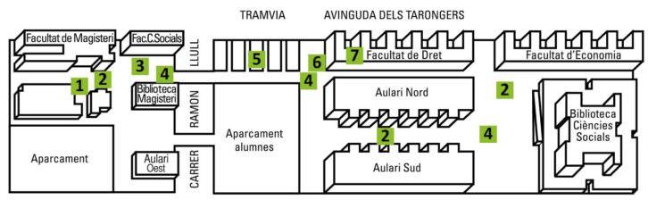 Art públic / Universitat pública. Plano con ubicación de proyectos. Campus dels Tarongers, Universitat de València.