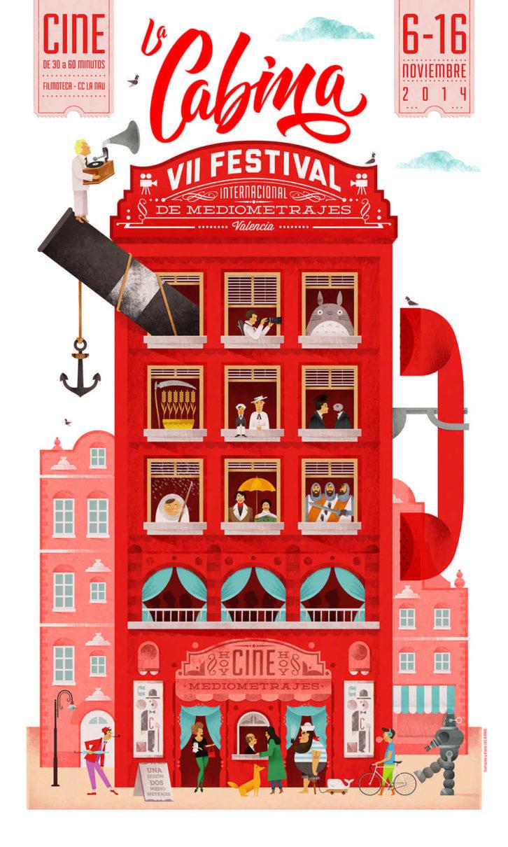 Cartel de la VII edición de La Cabina - Festival Internacional de Mediometrajes de Valencia. Imagen cortesía de La Cabina.