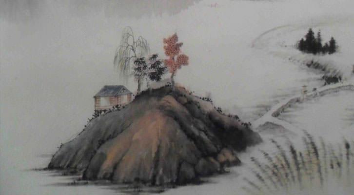 Obra de He Zhihong en la exposición de la Galería Charpa en Valencia.
