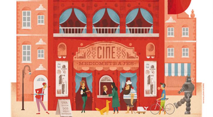 Detalle del cartel del VII Festival Internacional de Mediometrajes La Cabina realizado por Luis Demano. Imagen cortesía de La Cabina.