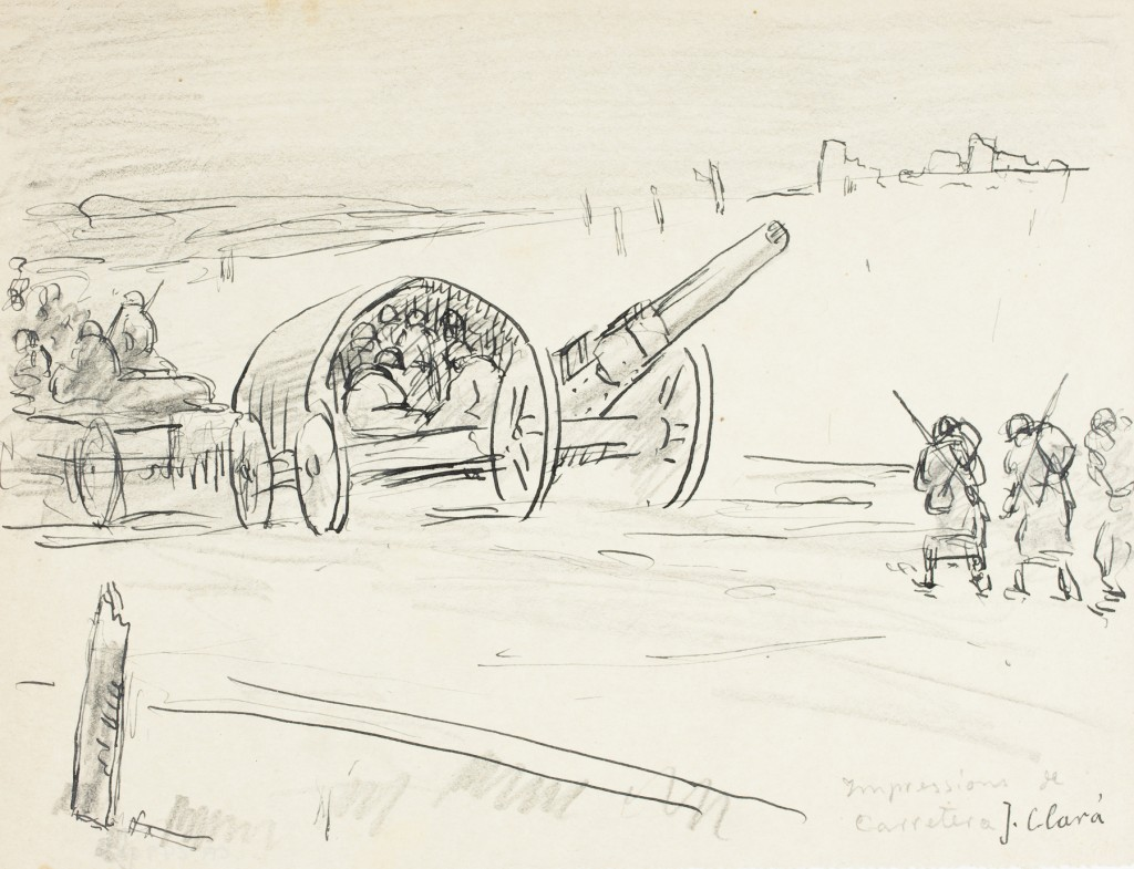 Impressions de carretera obra de Josep Clarà, en la exposición Barcelona, zona neutral (1914-1918). Imagen cortesía de la Fundación Joan Miró.