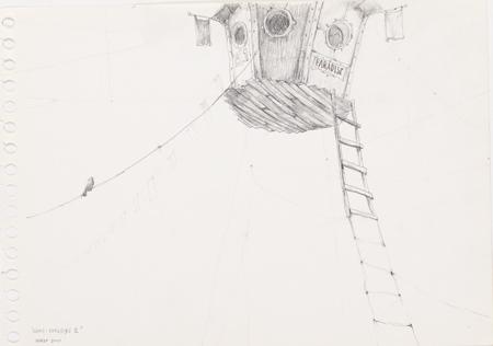 Dibujo de José Luis Serzo en la exposición 'Papeles privados' del Instituto Cervantes de Munich. Imagen cortesía de las colecciones Tomás Ruiz y DKV.
