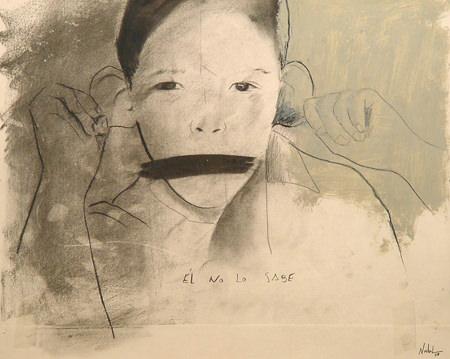 Dibujo de Juan Carlos Nadal en la exposición 'Papeles privados', diálogo entre la Colección Tomás Ruiz y la Colección DKV en el Instituto Cervantes de Munich. Imagen cortesía de los organizadores.