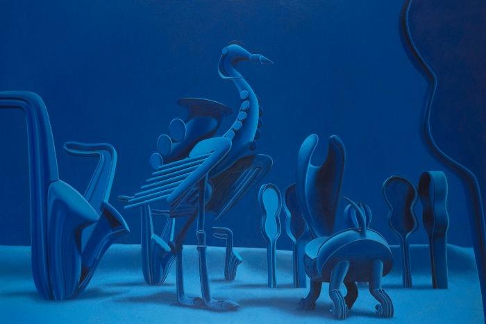 Teresa Tomás. Terciopelo azul. 2014. Óleo/lienzo. 195 x 130 cm.