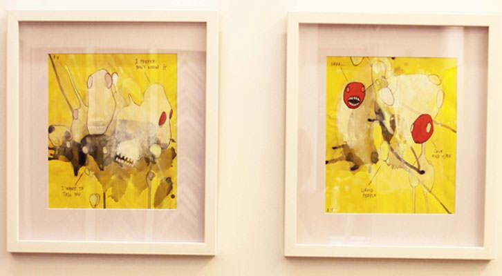 Dos de las obras de Ana Vernia en la exposición 'Después del chocolate' de la Galería Cuatro.