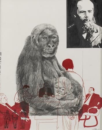 Dibujo de Xavier Arenós en la exposición 'Papeles privados', diálogo entre la Colección Tomás Ruiz y la Colección DKV en el Instituto Cervantes de Munich. Imagen cortesía de los organizadores.