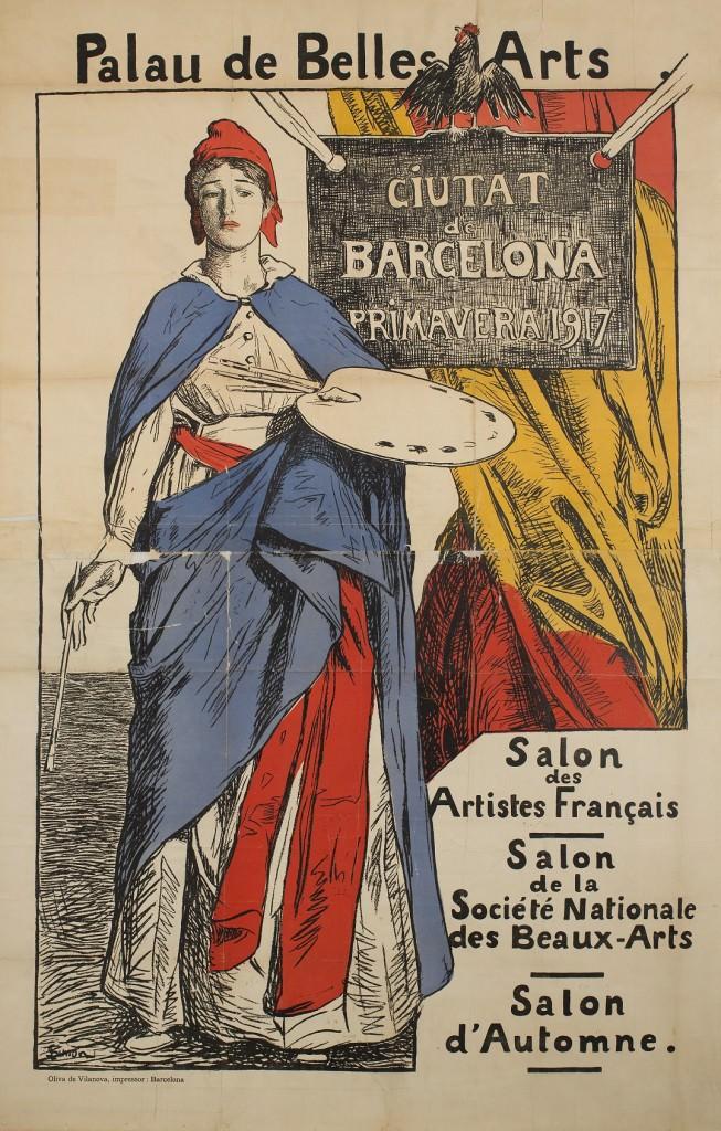 Cartel obra de Lucien Simon en la exposición Barcelona, zona neutral (1914-1918). Imagen cortesía de la Fundación Joan Miró.